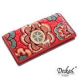 【DeckasParis】法國名品小牛真皮皮夾太陽花手機包禮盒真皮女夾真皮長夾(紅/紫/黑/粉)BW-0070-1