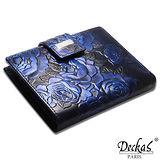 Deckas Paris法國名品小牛真皮皮夾宮廷時尚浮雕薔薇花紋環皮壓扣真皮短夾(黑/紅/藍)BW-0110-3