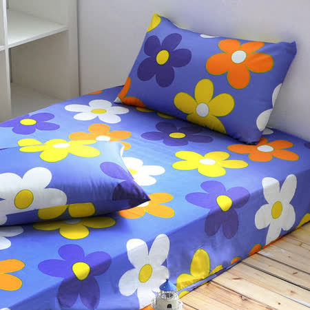 Alisa 愛麗莎(紛飛花舞-藍)雙人加大三件式床包組