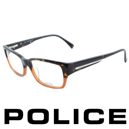 POLICE 近視平光眼鏡★時尚雙色設計★(琥珀) POV1735-06NP
