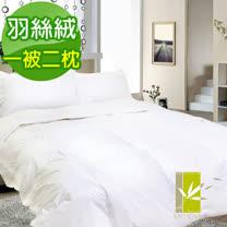 【DUYAN竹漾-白】精選雙人100%天然羽絲絨被+羽絲絨枕(2入)