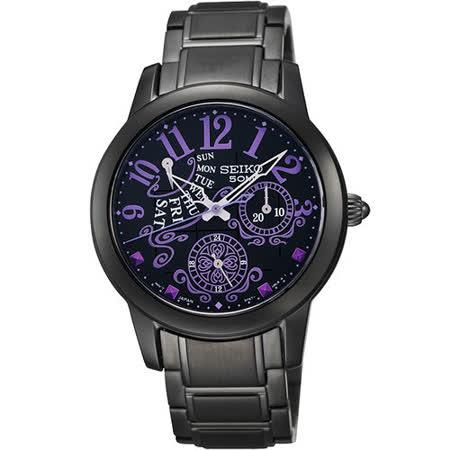 SEIKO Criteria 魔幻佳人時尚限量腕錶-IP黑 5Y67-0BA0SD
