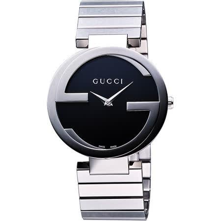【網購】gohappy快樂購GUCCI Interlocking 時尚元素腕錶-黑/銀/37mm YA133307評價如何愛 買 會員 卡