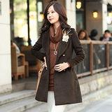 【韓系女衫】時尚氣質雙排扣羊駝毛大衣