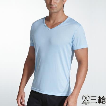 【三槍牌】時尚型男經典排汗速乾E棉彩色V領短袖衫~1件組