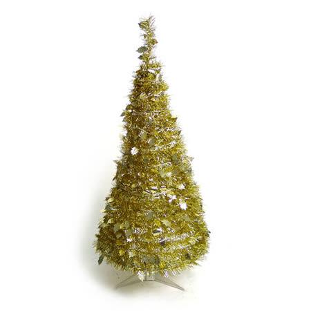 4尺/4呎(120cm) 創意彈簧摺疊聖誕樹 (金色系)