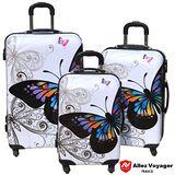 【Allez Voyager】彩蝶飛舞PC輕量行李箱三件組