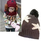 韓版繁星點點保暖帽/毛線帽-搭配圍巾(咖啡款)