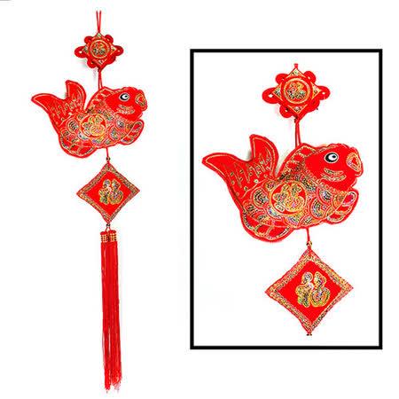 農曆春節【喜氣植絨亮片魚串吊飾】掛飾