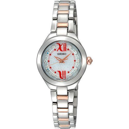 SEIKO Ladies 甜美 晶鑽腕錶~半金 V111~0CC0KS