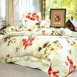 《KOSNEY 花海樂園》加大100%天絲TENCEL四件式兩用被床包組