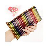 七彩線條化妝包 零錢包筆袋 實用易攜帶收納袋 洗漱袋/收納中包(2個)