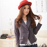 【ceres席瑞絲】時尚名流雙排釦翻領外套-灰色
