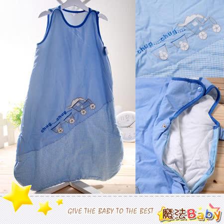 (購物車)魔法Baby~厚款鋪棉寶寶防踢睡袋(藍/火車)~嬰幼兒用品~時尚設計~k00927_c
