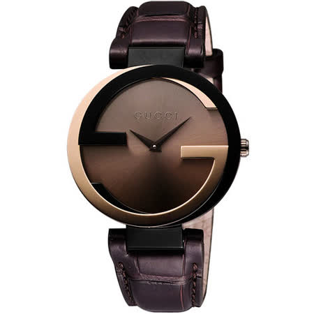 GUCCI Interlocking 時尚元素18K玫塊金腕錶 YA133304
