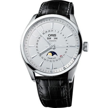 Oris Artix Pointer Date 全日曆月相盈虧機械腕錶-銀白/黑 915.7643.40.51LS