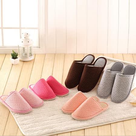 PS Mall 小圓點棉拖鞋 防滑冬季保暖鞋 居家拖鞋 室內拖鞋 (J1510)