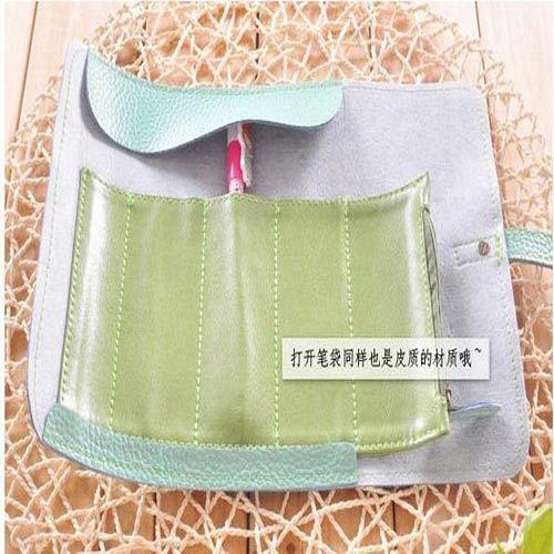 韓國 可愛簡約風捲捲皮質筆袋化妝包 ^( ^)