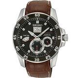 SEIKO Kinetic 專業萬年曆腕錶-黑 7D48-0AK0C