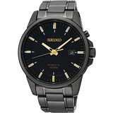 SEIKO Kinetic 時尚人動電能腕錶-IP黑 5M62-0CZ0SD