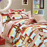 《KOSNEY 摩登世界》加大精梳棉四件式兩用被床包組