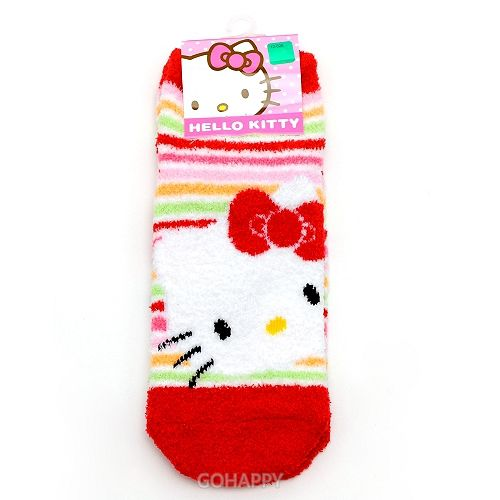 韓國 SANRIO~彩虹Hello Kitty~毛短襪