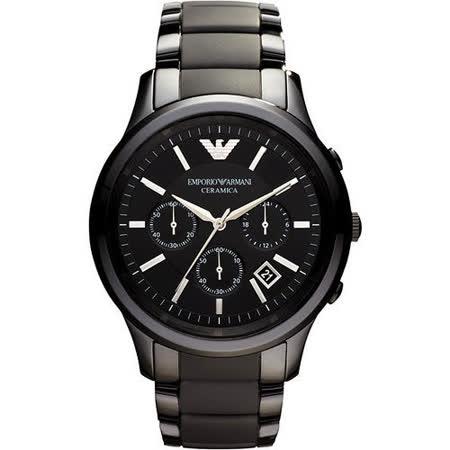 ARMANI 经典时尚陶瓷计时腕表-黑 AR1452