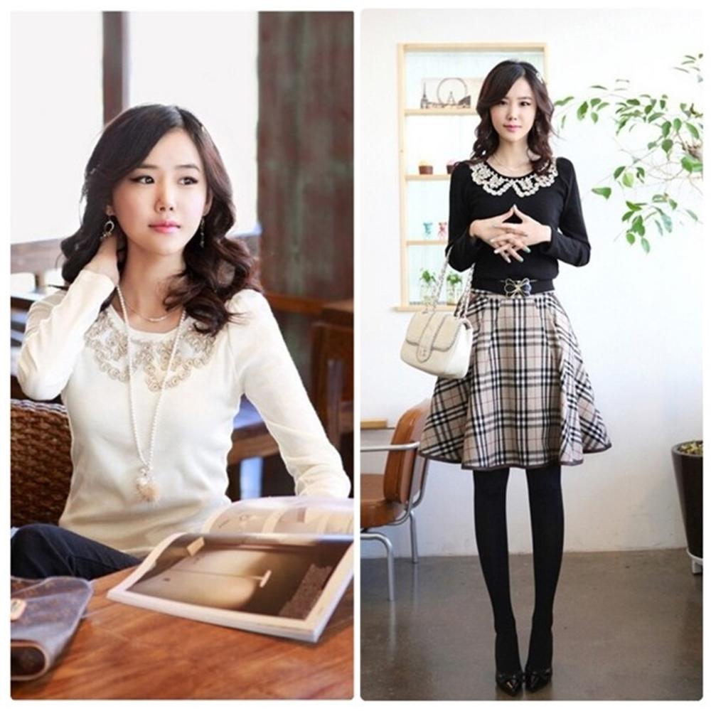 【韓系女衫】蕾絲花邊修身打底衫