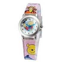 Pooh小熊蜂蜜罐鐵殼粉紅色膠帶錶