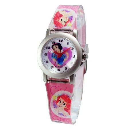 Disney公主系列白雪公主鐵殼粉紅色膠帶錶
