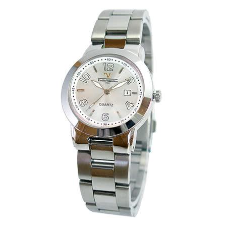 【Valentino】范倫鐵諾時尚銀不鏽鋼水晶錶