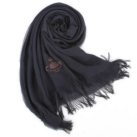 【私心大推】gohappy快樂購Vivienne Westwood 新款釘珠行星LOGO絲質圍巾-深藍色評價好嗎sogo 台北 店