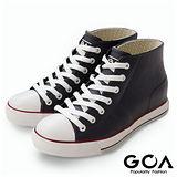 GOA街頭時尚.女款內增高帆布款橡膠雨鞋-藍