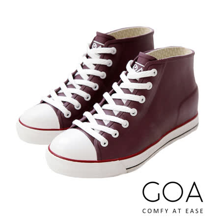 GOA街頭時尚.女款內增高帆布款橡膠雨鞋-紫