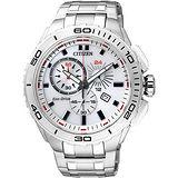 CITIZEN Eco-Drive 競速賽車手計時腕錶-白 AT0960-52A