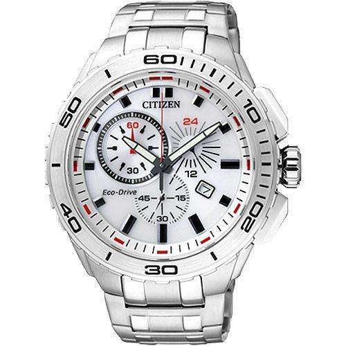 CITIZEN Eco~Drive 競速賽車手計時腕錶~白 AT0960~52A