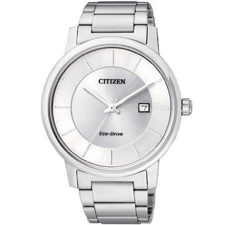 CITIZEN 經典簡約光動能腕錶-銀白 BM6750-59A