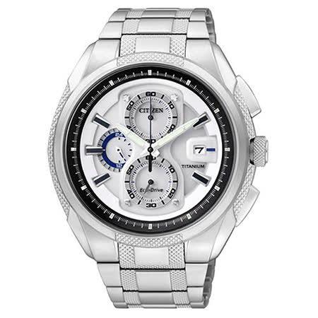 CITIZEN ECO-Drive 超級鈦金屬計時腕錶-銀白 CA0201-51B