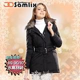 【山力士 SAMLIX】女羽絨外套.保暖外套.羽絨衣.風衣.雪衣 / 保暖.輕便.透氣.時尚有型.氣質風格 / 34811 黑