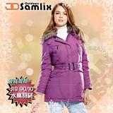 【山力士 SAMLIX】女羽絨外套.保暖外套.羽絨衣.風衣.雪衣 / 保暖.輕便.透氣.時尚有型.氣質風格 / 34811 紫