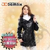 【山力士 SAMLIX】女羽絨外套.保暖外套.羽絨衣.風衣.雪衣 / 保暖.輕便.透氣.時尚有型.氣質風格 / 33012 黑