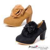 【Miaki】可愛甜心 蝴蝶結兔毛設計牛津踝靴