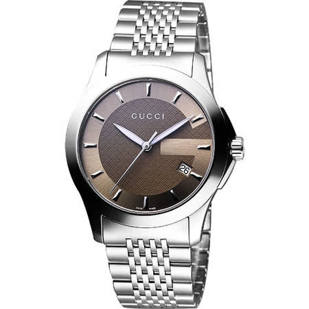 GUCCI 經典古馳菱格紋時尚腕錶-咖啡 YA126406