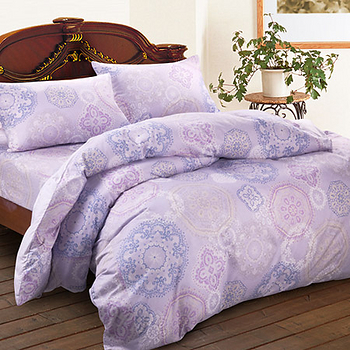 【Saebi-Rer_馨苑花影.紫】雙人四件式台灣製精梳棉被套床包組