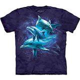 『摩達客』美國進口【The Mountain】自然純棉系列 海豚群 藍色設計T恤 (預購)