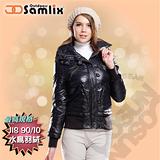 【山力士 SAMLIX】女羽絨夾克.保暖外套.羽絨衣.風衣.雪衣 / 保暖.輕便.透氣.時尚有型.氣質風格 / 34211 黑