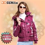 【山力士 SAMLIX】女羽絨夾克.保暖外套.羽絨衣.風衣.雪衣 / 保暖.輕便.透氣.時尚有型.氣質風格 / 34211 桃紅