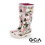 GOA花漾蝶舞霧面長筒雨靴-白蝴蝶