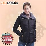 【山力士 SAMLIX】女假兩件式羽絨夾克.保暖外套.羽絨衣.風衣.雪衣 / 保暖.輕便.透氣.時尚有型.氣質風格 / 321 黑