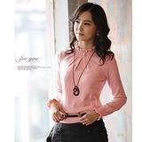 【韓系女衫】甜美荷葉邊圓領修身長袖針織衫